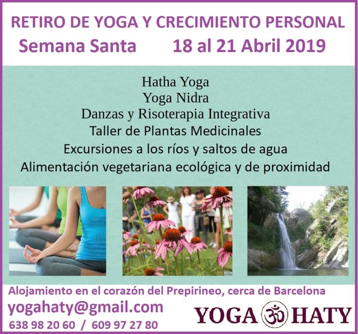 cartel retiro de yoga y crecimiento personal semana santa 2019