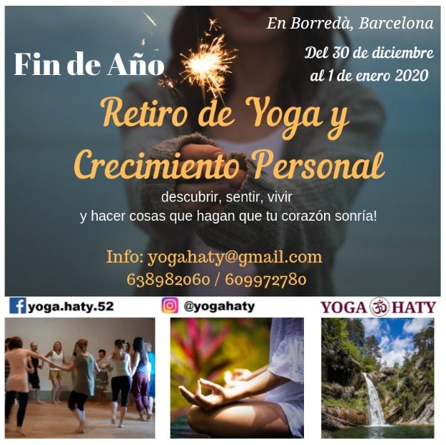 Cartel Yoga Haty. Retiro de Yoga y Crecimiento Personal. Fin de Año